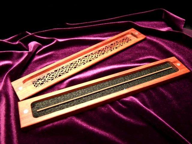 高品質 お香立て 木製 スティック香立て 蓋付 ウッドインセンスホルダー 平置きタイプ マグネット付き蓋
