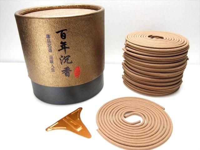 高級 百年沈香(うずまき香) 1箱48巻き入り 深い香りですが日本人向けの優しい香り ※入荷ロットによって簡易お香立てが入っていない場合があります。