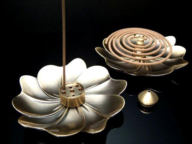 花びら型 4点Set お香立て コッパー製 スティックタイプとうずまきタイプ両方使える香立て 便利な4点セット 高品質 銅製