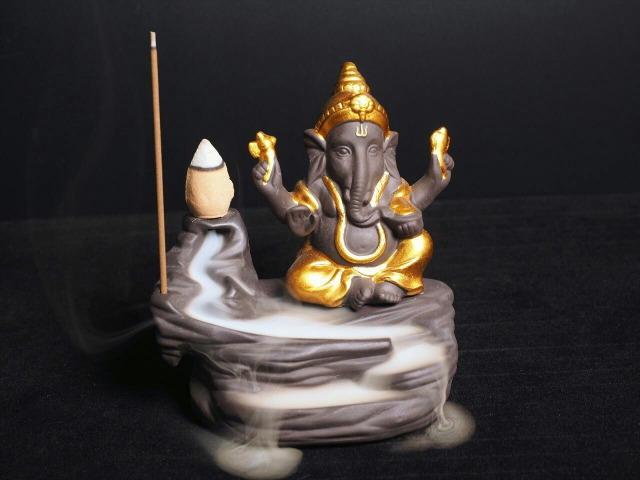 ガネーシャ倒流香炉 滝タイプ 高さ約11cm 最大幅約11cm コーンタイプ&スティックタイプ用 幻想的なガネーシャ 夢を叶える象