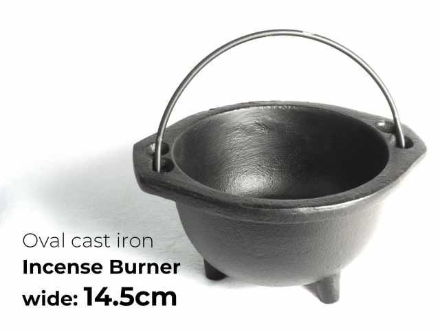 取っ手付き 丸型 浄化用香炉(鋳鉄製) 幅14.5cmタイプ ホワイトセージ・パロサントパウダー・チップ香・粉末香などの薫香の燃焼に便利