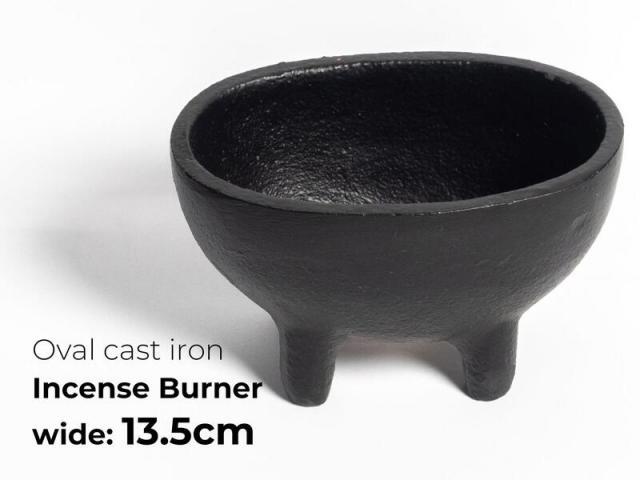 鋳鉄製 オーバル型 浄化用香炉 幅13.5cm ホワイトセージ・パロサントパウダー・チップ香・粉末香などの薫香の燃焼に便利