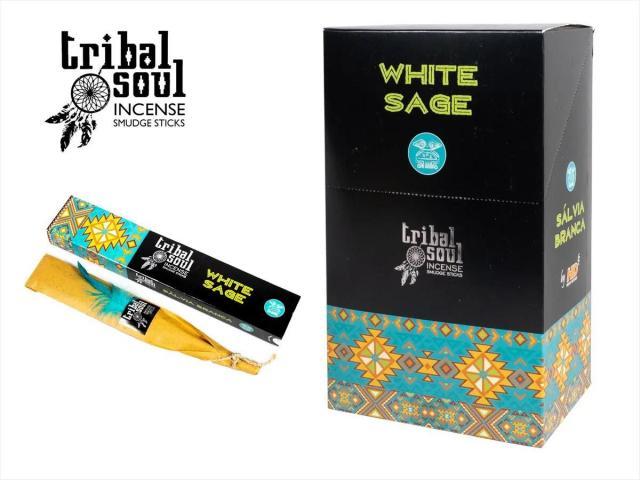 ホワイトセージ トライバルシリーズ スティック香 1本約20cm(燃焼部分 約15cm) 1箱に15本入り 1BOX 12箱入り (180本入り) tribal soul INCENSE SMUDGE STICKS Hari Darshan社 本格派スマッジングインセンスシリーズ