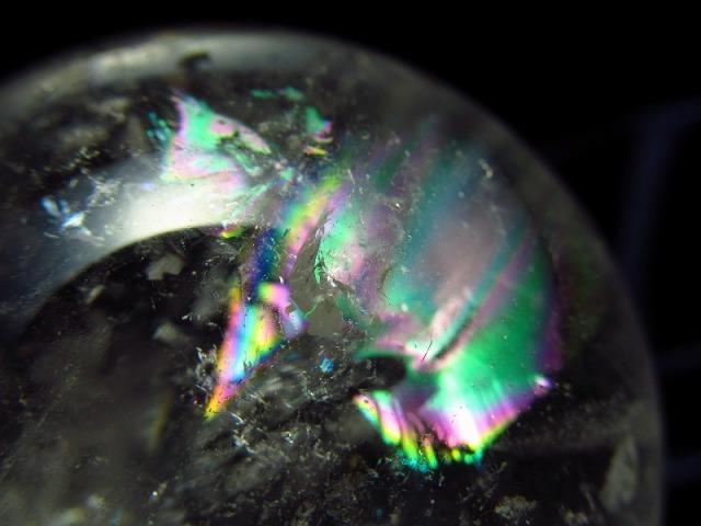 4A 天然水晶 虹入り 丸玉 台座付き 重さ204g φ53mm レインボー水晶 レインボー丸玉 レインボー 激安大放出 極上天然石 一点もの ブラジル産