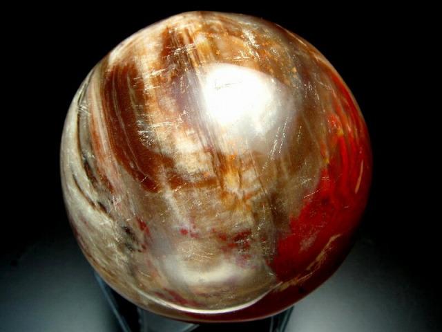 珪化木 丸玉 台座付 重さ910g、直径約87mm ペトリファイドウッド 博愛・真心・希望 一点もの 木の化石 sai