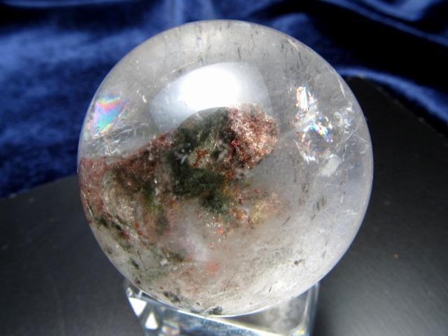 虹入り! ガーデン 水晶 丸玉 台座付 直径約32mm 重さ51g ガーデン水晶 ガーデンクォーツ 1点もの ブラジル産