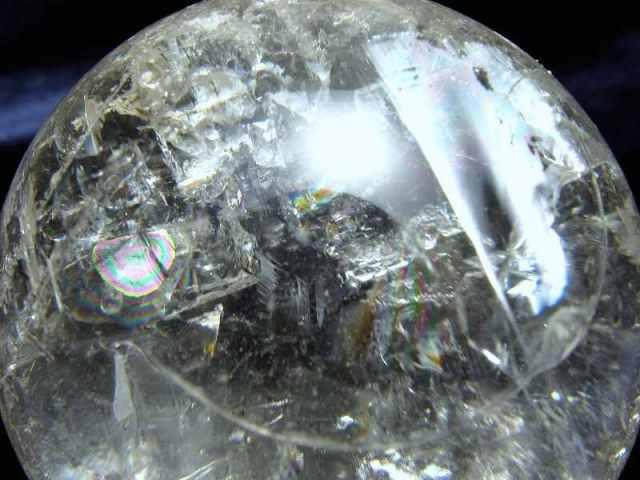 くっきり虹入り 4A レムリアン水晶 虹入り 丸玉 ギャランティカード 台座付き 重さ146g φ48mm 古代の叡智を封じ込めた水晶 レムリアンクリスタル レインボー水晶 レインボー丸玉 一点もの ブラジル バイーア州