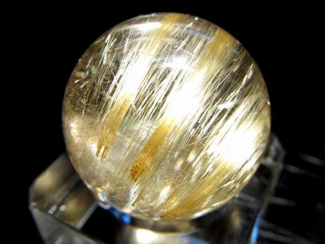 5A ゴールド ルチル クォーツ 丸玉 台座付き 重さ13g φ21mm ルチルクォーツ 超透明 極上天然石 一点もの パワーストーン ブラジル sai