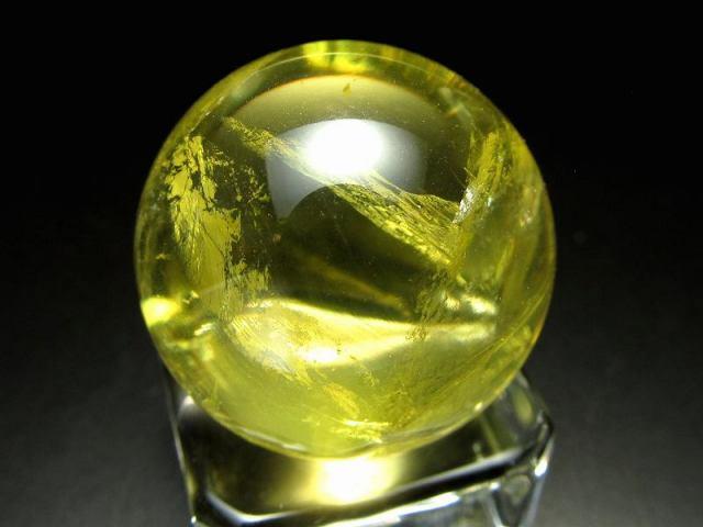 4A 超透明 シラー入り シトリン 丸玉 K9 クリスタルガラス台座付き 直径約26.5mm 重さ26g 金運 財運 幸運 ミニサイズ お守りにも K9台座付き ブラジル産