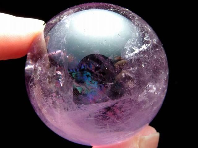 4A 虹入り アメジスト 紫水晶 丸玉 台付 直径39.5mm 重さ85g 透明 愛の守護石 癒しと安らぎの石 台座付き 一点もの ブラジル産