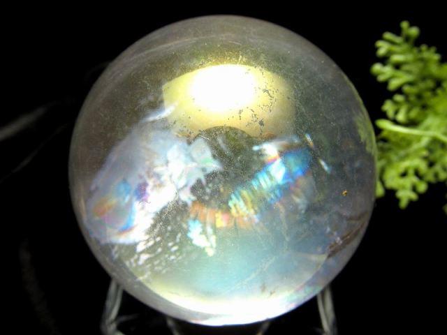 虹入り コスモオーラクォーツ 丸玉 台座付き 直径約51mm 重さ184g エンジェルオーラ 一点もの 蒸着水晶