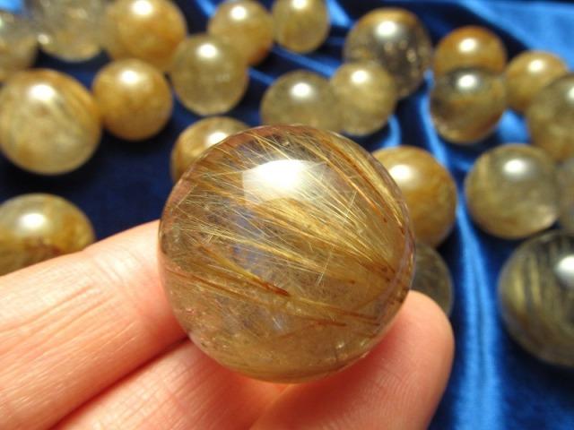 4A ゴールド シルバー ブラウン ルチルクォーツ 丸玉 直径約22mm-24mm 金運・財運の代表石 ブラジル産