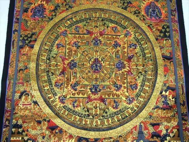 特大サイズ! 曼荼羅(マンダラ) サイズ約48×66cm 貴重な本物・手書きの精密画 100%木綿(コットン)台紙 曼荼羅(曼陀羅)図像 輪円具足 曼荼羅