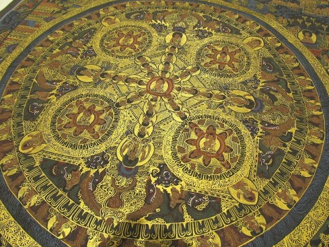 特大サイズ! 曼荼羅(マンダラ) サイズ約653mm×487mm 貴重な本物・手書きの精密画 100%木綿(コットン)台紙 曼荼羅(曼陀羅)図像 仏陀曼荼羅
