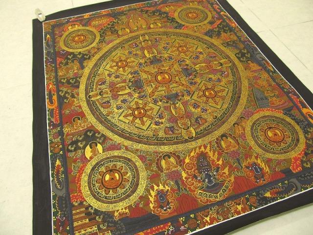 特大サイズ! 曼荼羅(マンダラ) サイズ約653mm×528mm 貴重な本物・手書きの精密画 100%木綿(コットン)台紙 曼荼羅(曼陀羅)図像 仏陀曼荼羅