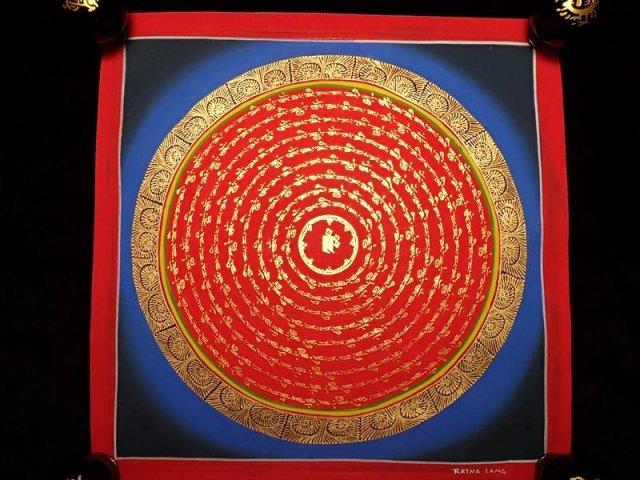 曼荼羅(曼陀羅)図像 サイズ約30×30cm 1点物 チベット仏教 悟りの図像・仏教美術 100%木綿(コットン)台紙 マントラ(六字真言)
