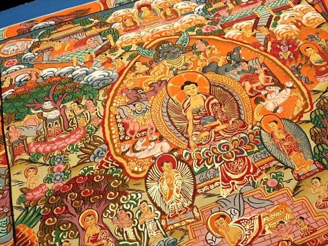 曼荼羅(曼陀羅)図像 サイズ約32×38cm 1点物 チベット仏教 悟りの図像・仏教美術 100%木綿(コットン)台紙 仏陀ストーリー曼荼羅