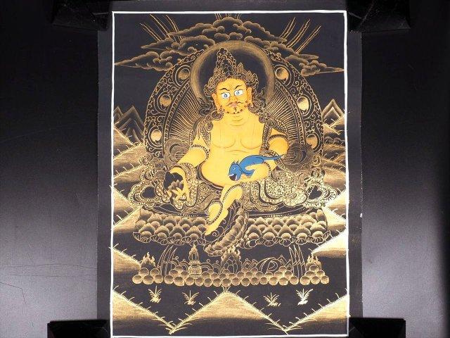 宝蔵神(ジャンバラ)曼荼羅(曼陀羅)図像 サイズ約41cm×31cm 僧侶・タンカ絵師による肉筆 手書きの精密画(タンカ) チベット仏教 悟りの図像・仏教美術 100%木綿(コットン)台紙