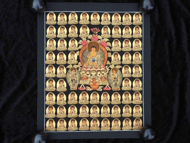 釈迦如来曼荼羅(曼陀羅)図像 サイズ約40cm×33cm 僧侶・タンカ絵師による肉筆 手書きの精密画(タンカ) チベット仏教 悟りの図像・仏教美術 100%木綿(コットン)台紙