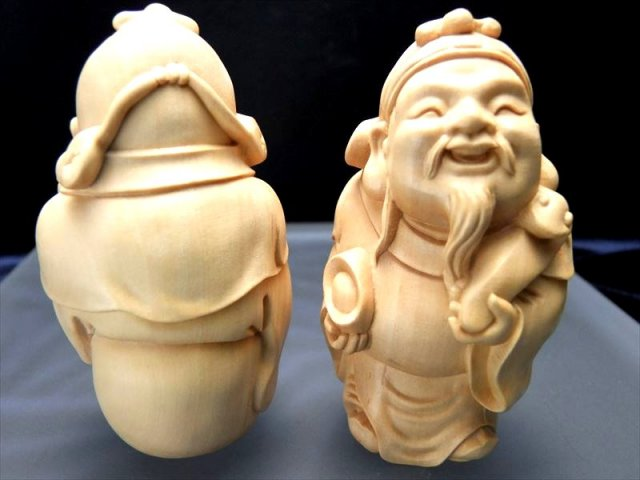 財神 木彫り置物 高さ約83mm 財福をつかさどる神 木彫り 天然木観音彫刻シリーズ 風水やインテリアに
