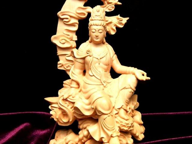 5A 透かし彫り 白衣観音(座像)木彫り観音像置物 高さ約175mm 風水やインテリアに
