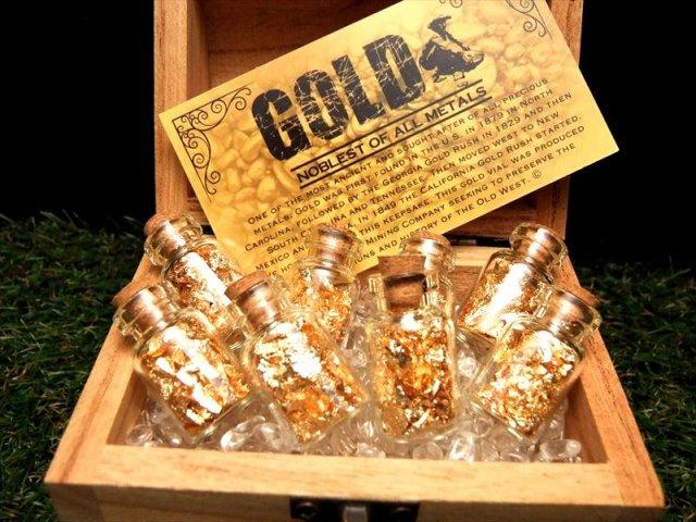たっぷりゴールド コルク栓ボトル 22金ゴールド入り 縦30mm 専用カード付 鑑賞やコレクションに GOLD K22 ミニボトル 1個売り