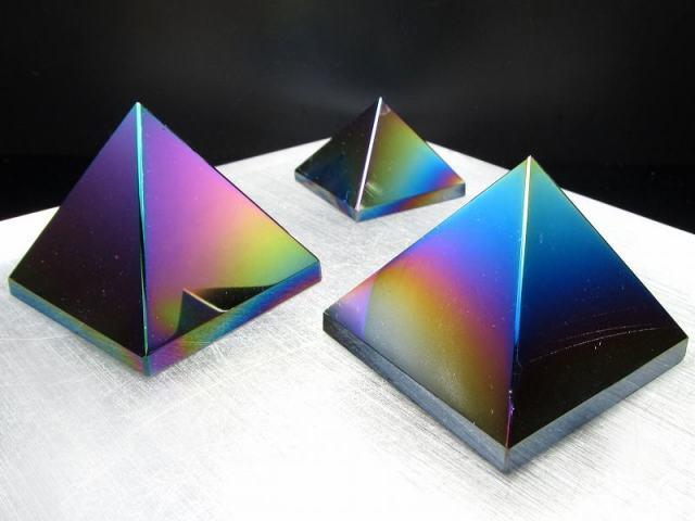 メタリック レインボーオーラ オブシディアン(黒曜石)ピラミッド置物 90g-100g 魔除け・厄除けの石 メキシコ産