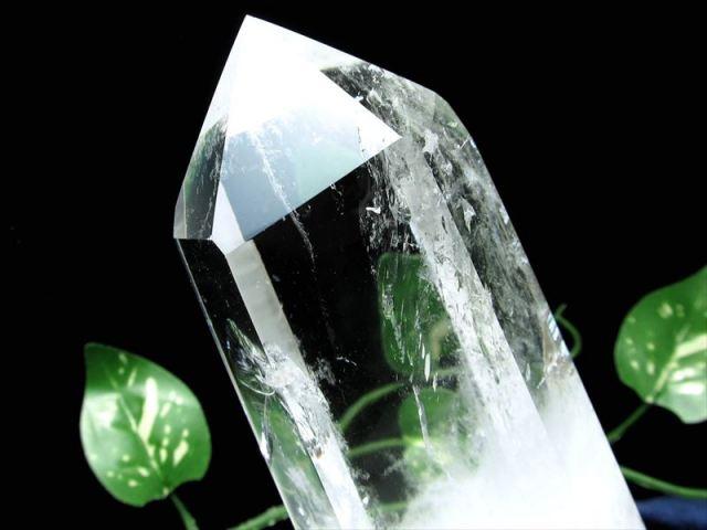 3A 虹入り 透明 水晶 ポイント 六角柱 専用台付 高さ約155mm 重さ約651g 水晶ポイント ブラジル産 sai