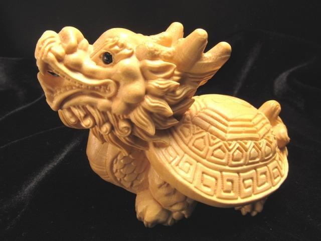 極上手彫り 木彫り ロングイ 龍亀 置物 幅約70mm 風水やインテリアに 財運を高める瑞獣 木彫り置物