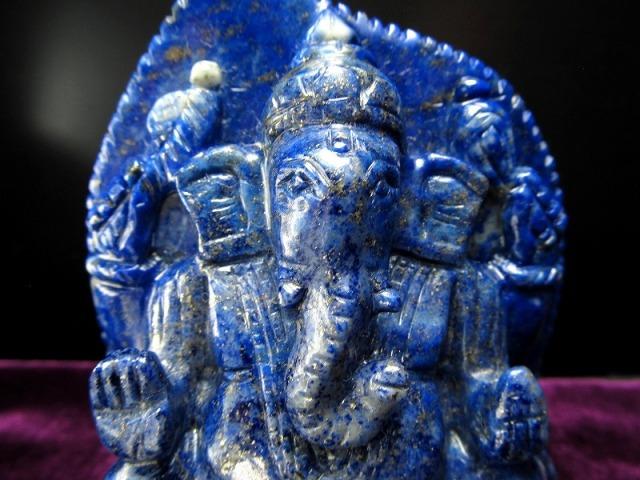ラピスラズリ ガネーシャ 彫り 置物 重さ371g 高さ約9.9cm 最強の幸運を引き寄せる石 あらゆる障害を跳ね除ける守り神 1点物