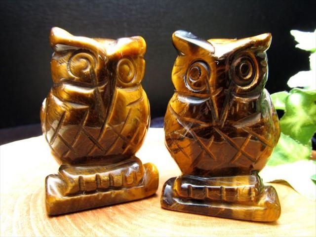【タイガーアイ フクロウ彫り 置物】重さ約60-75g ふくろう 不苦労 幸運を招く聖なる石 金運仕事運アップ