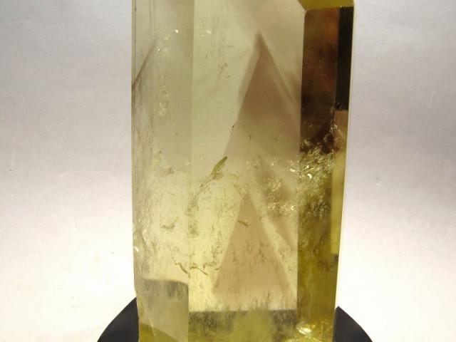 激レア ファントム入り シトリン ポイント 六角柱 高さ151mm 重さ428g 超透明 一点もの 黄水晶 木製台付き ブラジル産