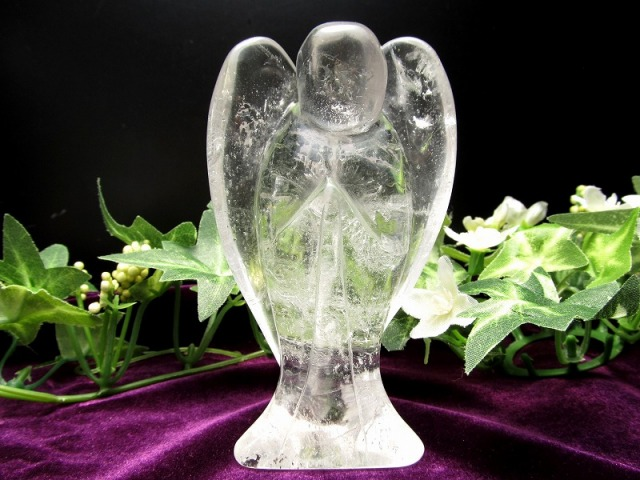 天然水晶 エンジェル彫り 重さ 約216g 高さ 約91mm 守護や優しさの象徴 天使クリスタル ブラジル産