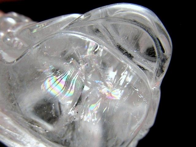 5A 虹入り 水晶 三本脚のカエル 重さ213g 最大幅82mm 1点物 インテリアに 銭蛙 三本足のカエル かえる 蛙