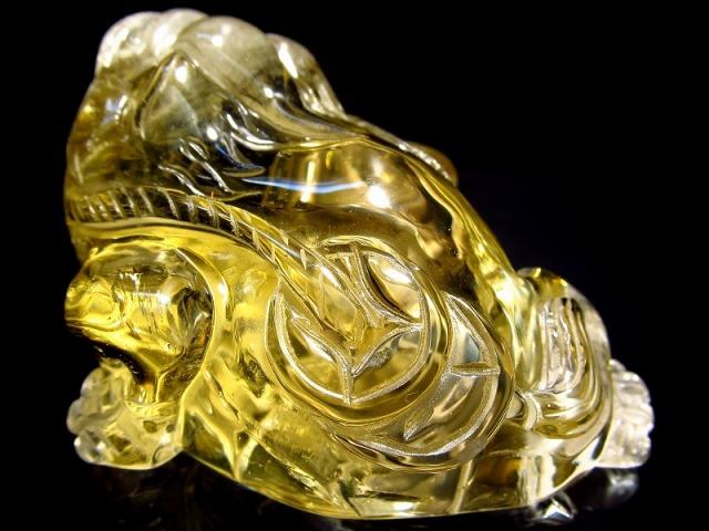 超透明シトリン 三本脚のカエル 彫り置物 重さ122g 最大幅71.5mm 財運を高める瑞獣 銭蛙 三本足のかえる 蛙 1点物 黄水晶