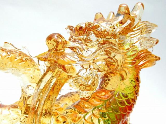玉持ち龍神 瑠璃製 レインボーカラーの龍置物 横幅約146mm 重さ899g 大吉開運 1点物 インテリアやお部屋のアクセントに♪