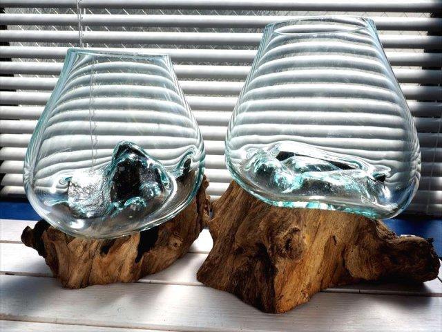 流木ガラスボウルオブジェ 〈幅横約15-25cm 高さ約20-27cm〉 アクアリウム・インテリアお部屋のアクセントに♪ さざれ石を用いた浄化にも