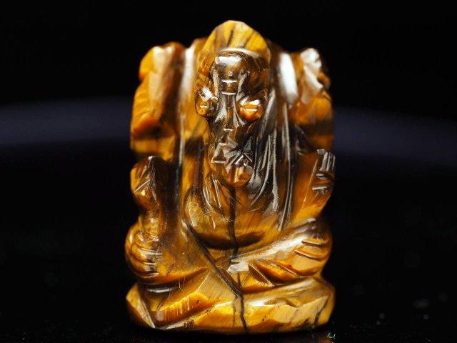 ガネーシャ彫り置物 タイガーアイ 高さ約25mm ミニチュアサイズ あらゆる障害を跳ね除ける守り神 全12種