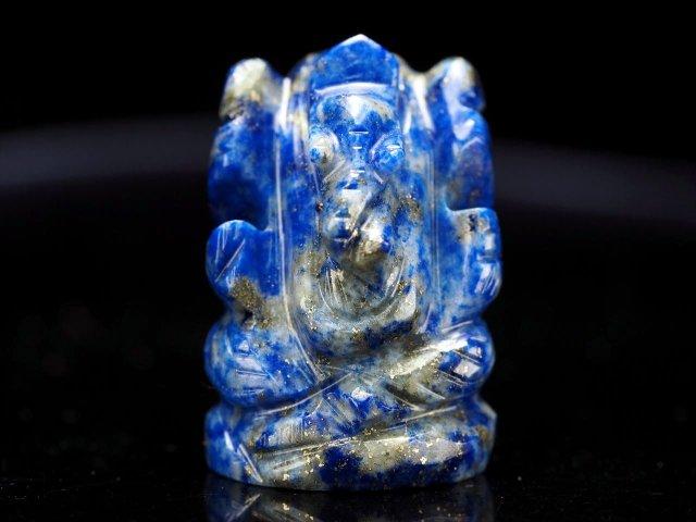 ガネーシャ彫り置物 ラピスラズリ 高さ約25mm ミニチュアサイズ あらゆる障害を跳ね除ける守り神 全12種