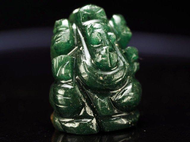 ガネーシャ彫り置物 アベンチュリン 高さ約25mm ミニチュアサイズ あらゆる障害を跳ね除ける守り神 全12種