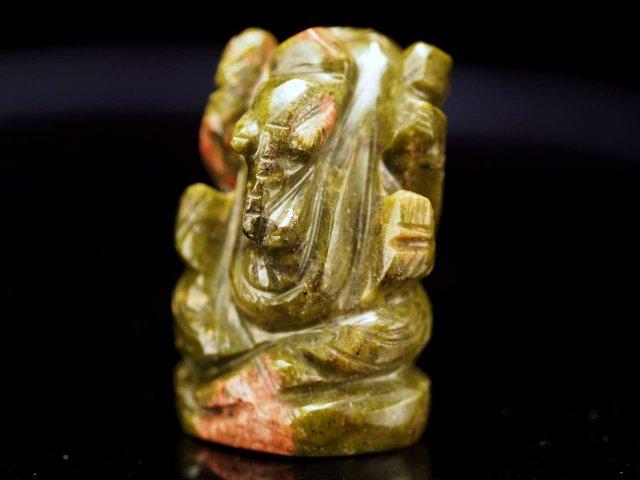 ガネーシャ彫り置物 ユナカイト 高さ約25mm ミニチュアサイズ あらゆる障害を跳ね除ける守り神 全12種