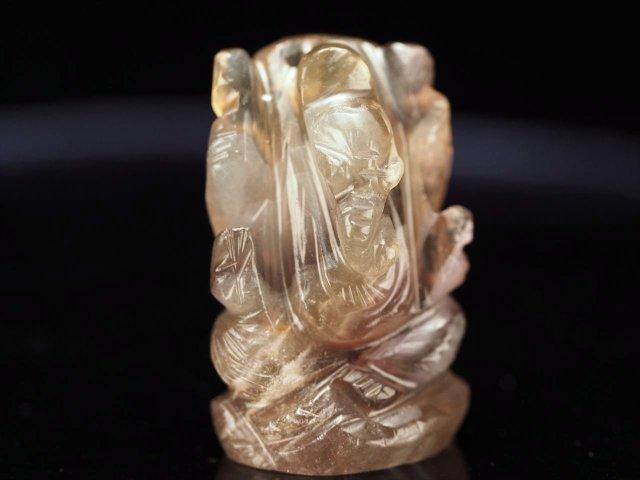 ガネーシャ彫り置物 フローライト 高さ約25mm ミニチュアサイズ あらゆる障害を跳ね除ける守り神 全12種