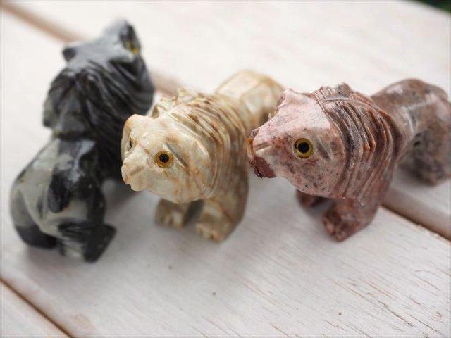 ライオン ジャスパー製 カワイイミニ動物置物 ディスプレイ・インテリア 天然石