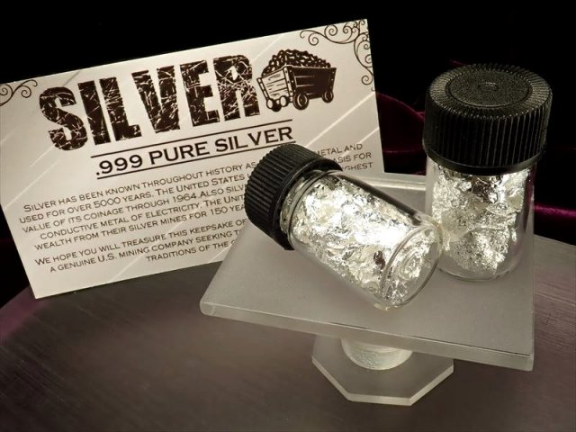 たっぷりシルバー シルバー入りミニボトル 縦29mm 専用カード付 鑑賞やコレクションに SILVER 銀箔 1個売り