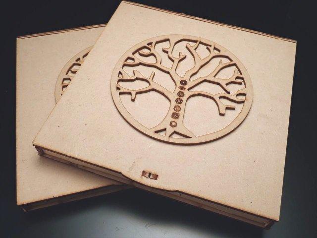 【7種のヤントラ刻印&7色チャクラタンブル チャクラツリーオブライフ刻印デザインケース】【タイプG】 ボックスサイズ約16.5×16.5cm 高さ1.7cm 古代インドから伝わるエネルギー補給