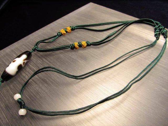 デザイン組み紐ネックレス タイプE 首周りサイズ50-70cm 東洋の趣きを感じる緑の紐タイプ 天珠・天然石が装着可能 サイズ調節付き