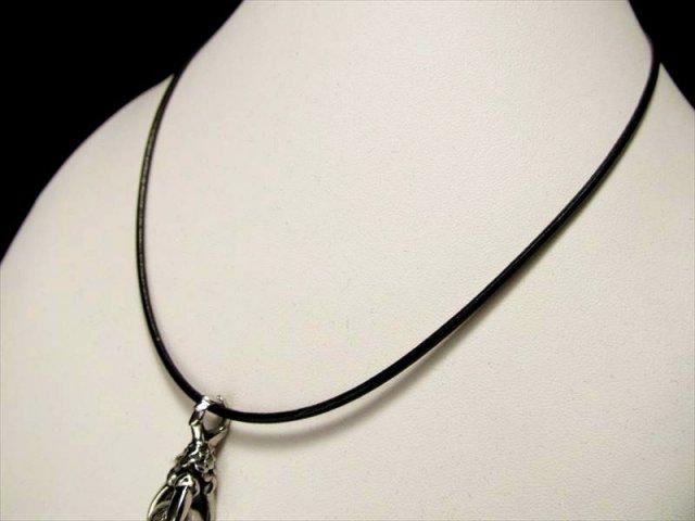クールな革紐ネックレス ブラック 長さ45cm 幅約1.9mm、金具部分 太さ約3mm ペンダントトップの相方 取り外し簡単 男性にも女性にも 革紐