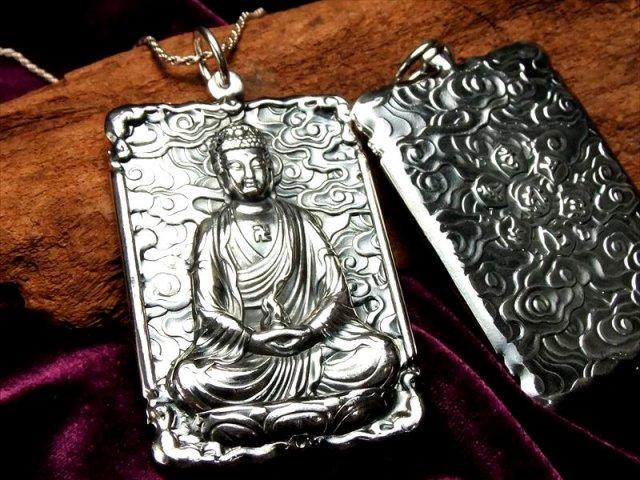 高品質シルバー 両面彫刻 阿弥陀如来像 彫刻ペンダントトップ キーホルダーにも使える大き目サイズ Silver925 of