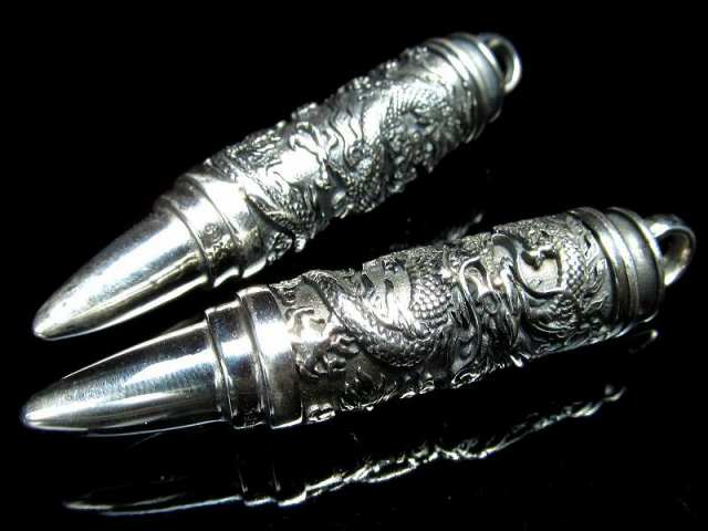 弾丸型 龍神彫り シルバーペンダントトップ 重さ約18g 高品質 シルバージュエリー ドラゴン彫刻 Silver925
