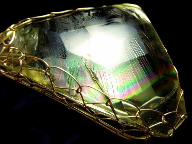 極上 超透明 アイリスレモンクォーツ(天然虹クラック硫黄水晶)ペンダント トップ 石サイズ縦約58mm 約30.9g 希望で未来を照らす石 迫力の大粒結晶 1点物 ブラジル産